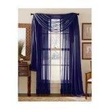"MONAGIFTS NAVY BLUE COLOR Voile Window Panel Solid sheer valance curtains 95"" / 96"" LONG"