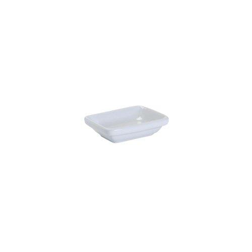 Tuxton Bpz-033B 2 Oz. Porcelain White Rectangular Sauce Dish - 48 / Cs