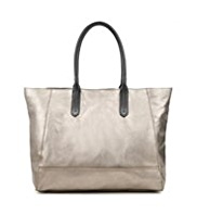 Autograph Leather Contrast Handle Shopper Bag