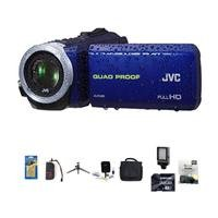 Jvc Everio Gz-R10 Quad-Proof Full Hd Camcorder Blue - Bundle With 64 Gb Class 10 Sdhc Card, Video Bag, New Leaf 3 Year (Drops & Spills) Warranty, Cleaning Kit, Memory Card Holder, Table Top Tripod, Screen Protector, Video Light