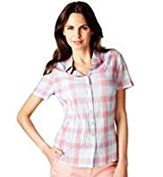 Per Una Pure Cotton Embroidered Checked Shirt