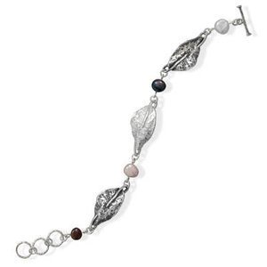 Nature Inspired Leaf and Colored Pearl Bracelet Sterling Silver Toggle Clasp Peach White Peacock
