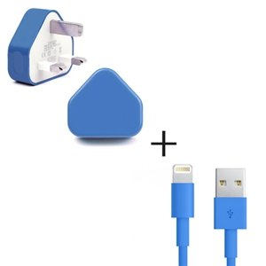 eGAZS(TM) BLUE Mains Wall UK Charger + 1M USB DATA CHARGER CABLE CORD FOR Apple iPhone 5 5S 5C New iPad Air 4 Mini