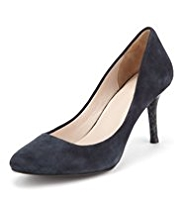 Autograph Suede Mid Heel Court Shoes with Leather Lining and Insolia®