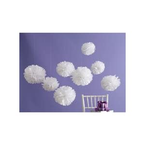 wedding reception decoration ideas, martha stewart white pom poms