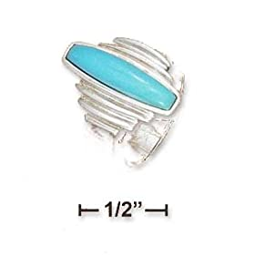 Sterling Silver 4x19mm Turquoise Bar With Step Sides Ring - Size 9.0