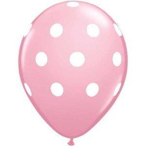 12 Light Pink Dot Polka Dot Balloons - Made in USA