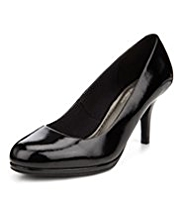 M&S Collection Leather Wide Fit Platform Court Shoes