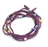 Lucky Charms, Purple Suede Kabbalah String Bracelet With Lucky Eyes