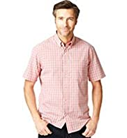 Pure Cotton Short Sleeve Easycare Mini Checked Shirt