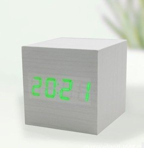 Makerfire Cube Mini Green Led White Base Wooden Alarm Clock With Thermometer Time Display And Sound Activated