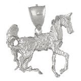 CleverEve 14K White Gold Pendant 3-D Horse 17.5 Grams