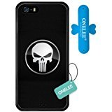 Onelee iPhone SE, [Scratchproof] Marvel Series Case for iPhone 5S SE, Marvel Comic Hero Punisher iPhone 5S Case Black Soft Rubber [NeverFade][Free One Touch Silicone Stand] (Marvel Silicone Iphone 5s Case compare prices)