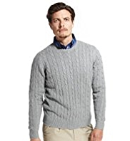 XS Blue Harbour Pure Cotton Cable Knit Jumper