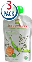 Happy Baby Stage 1 Organic Baby Food Green Beans -- 3.5 oz Each / Pack of 3