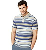 "2"" Longer North Coast Pure Cotton Multi-Striped Polo Shirt"