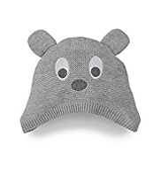 Pure Cotton Bear Face Knitted Hat