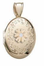 14K Yellow Gold Cremation and Hair Locket w/ Diamond Center - 1/2 inch x 1 inch Solid 14K Yellow Gold