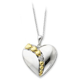 Sterling Silver accented gold plating CZ Necklace - 18 Inch - JewelryWeb