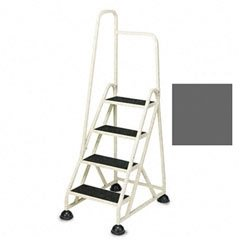 Step Ladder - 4 Steps with Left Handrail - Winter Gray