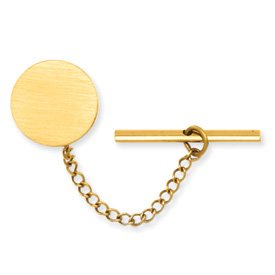 Gold-plated Round Satin Tie Tack - JewelryWeb