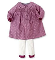 2 Piece Smocked Dress & Tights Outfit
