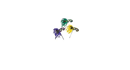 Mardi Gras Feather Masks W/Sticks (1 dozen) - Bulk [Toy]