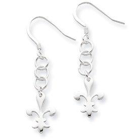 Sterling Silver Polished Fleur De Lis Dangle Earrings on Mini Chain