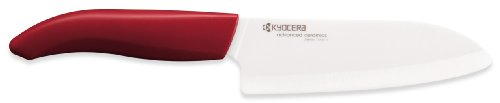 Kyocera Revolution Series 5.5-Inch Santoku Knife, Red