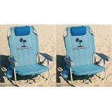 2 Tommy Bahama 2016 Backpack Cooler Chair with Storage Pouch and Towel Bar (Blue Weave & Blue Weave) (Beach Backpack Cooler compare prices)