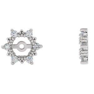 Genuine IceCarats Designer Jewelry Gift 14K White Gold Diamond Earrings Jacket. Pair 1/4 Cttw Diamond Earrings Jacket In 14K White Gold