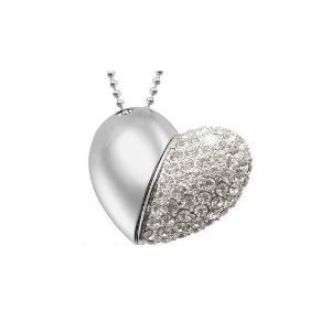 High Quality 16 GB Heart Shape Crystal Jewelry USB Flash Memory Drive Necklace from T &  J
