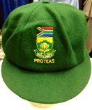 CLASSICAL MENS MELTON WOOL CRICKET CAP NEW SOUTH AFRICA TEST LOGO GREEN 58-62CM