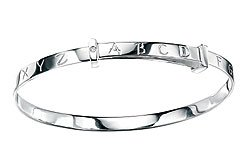 Boys Jewelry - Sterling Silver and Diamond Alphabet Adjustable Bangle