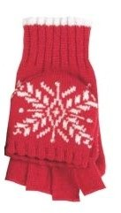 Ladies Knit Convertible Mittens / Gloves with Snowflake (Red)