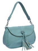 Passion Faux Leather Light Blue Medium Shoulder Handbag With Tassels