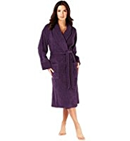 Pure Cotton Towelling Shawl Collar Dressing Gown