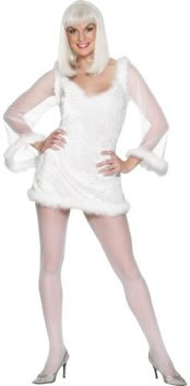 WHITE ANGELIC LADY ANGEL FANCY DRESS COSTUME & HALO - L