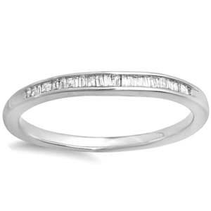 Sterling Silver Baguette Diamond Wedding / Anniversary Ring (1/7 ctw)