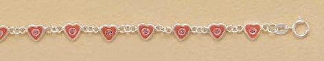 Crystal/Enameled Sterling Silver Bracelet, 5-1/2 inch long, Child-size, 1/4 inch Heart