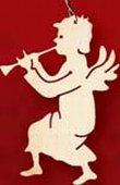 Kunsthandwerkstube Taulin Erzgebirge Engel mit Trompete d = ca. 6 - 7 cm