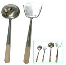 Heavy Gauge Stainless Hand-Tooled Commercial Chuan (Spatula) and Hoak (Ladle) Set