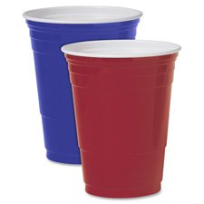 Party Cup, Plastic Construction, For Cold Drinks, 16 Oz Capacity, Red, 50/Bag SLOPS16R