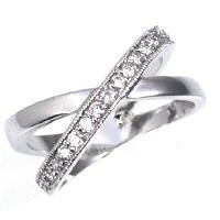 White Gold Rhodium Bonded Crossed Eternity Bands with Round Cut Clear CZ in a Channel Setting with Milligrain Accents in Silvertone