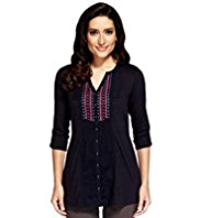 Per Una Pure Cotton Embroidered Bib Front Shirt