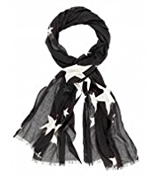 M&S Collection Lightweight Chic Star Print Scarf
