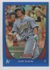 Kurt Suzuki #92/150 Oakland Athletics (Baseball Card) 2011 Bowman Chrome Blue Refractor #155