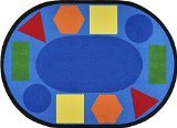 Joy Carpets Kid Essentials Early Childhood Round Sitting Shapes Rug, Multicolored, 13'2""