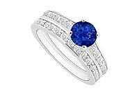 Sapphire and Diamond Engagement Ring with Wedding Band Set 14K White Gold - 1.00 CT TGW MADE IN USA