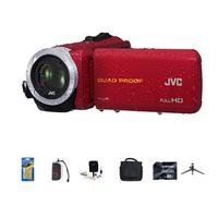 Jvc Everio Gz-R10 Quad-Proof Full Hd Camcorder Red - Bundle With 32 Gb Class 10 Sdhc Card, Video Bag, Cleaning Kit, Memory Card Holder, Table Top Tripod, Screen Protector